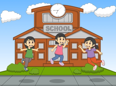 front or back yard: Child playing jump at the school cartoon vector illustration