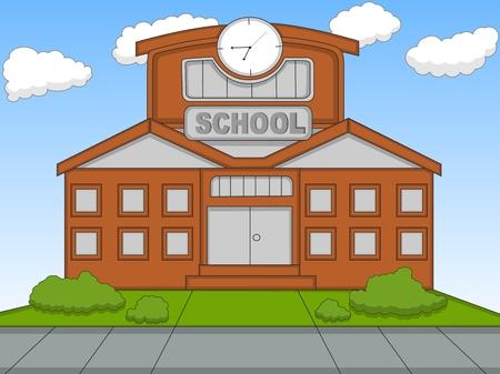 escuela caricatura: Escuela de ilustración vectorial de dibujos animados