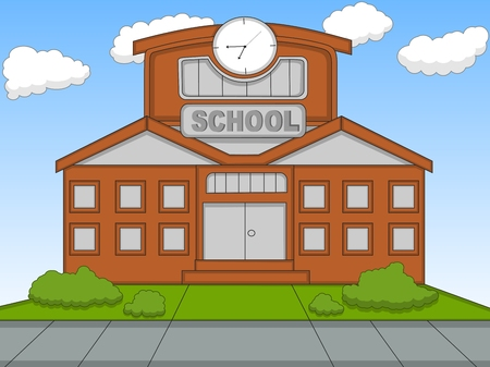 studying classroom: School cartoon vector illustration