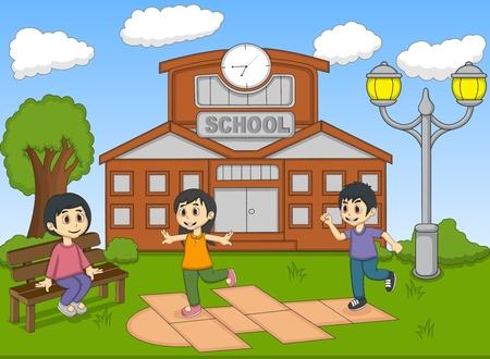 Children playing hopscotch on the school cartoon vector illustration