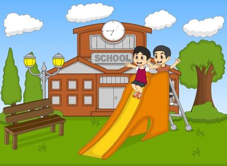 house front: children playing slide on the school cartoon vector illustration Illustration