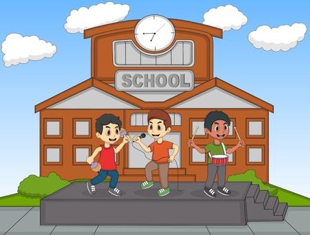 Children singing in front of their school cartoon vector illustration 일러스트