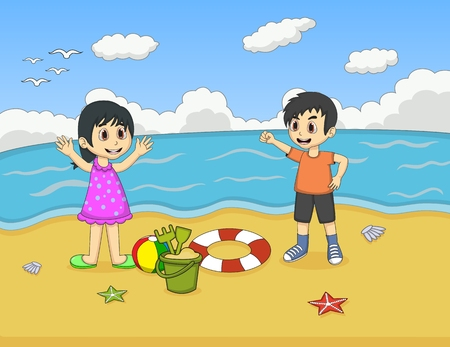 little girl bath: Children playing on the beach cartoon vector illustration Illustration