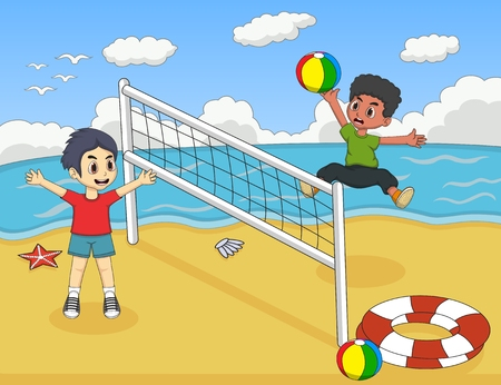 children play: Children playing volleyball on the beach cartoon vector illustration