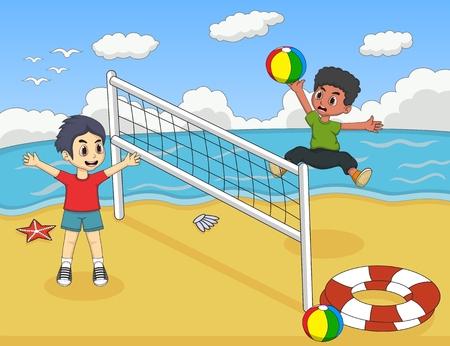 niños nadando: Los niños que juegan al voleibol en la playa de ilustración vectorial de dibujos animados