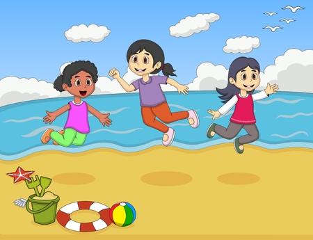 Children playing on the beach cartoon vector illustration Illustration