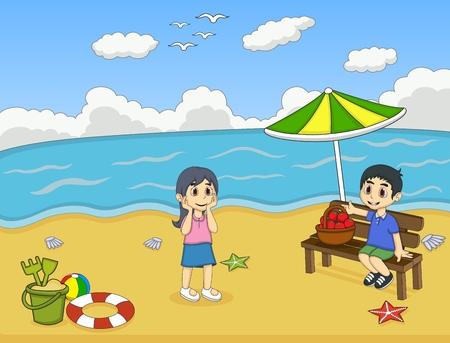 teen boy: Children playing on the beach cartoon vector illustration Illustration