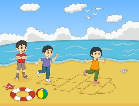 hopscotch: Children playing hopscotch on the beach cartoon vector illustration