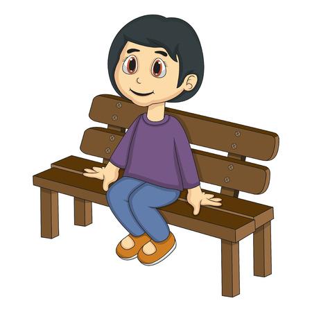 little girl sitting: Little girl sitting on a bench cartoon