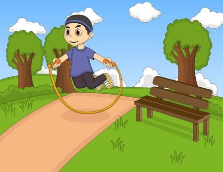 jump rope: Little kids playing jump rope at the park cartoon Illustration