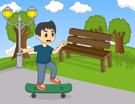 little skate: Little boy playing skateboard in the street cartoon