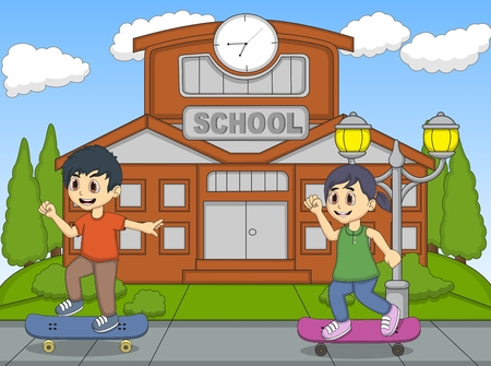 skate board: Little kids playing skate board in front of their school cartoon Illustration