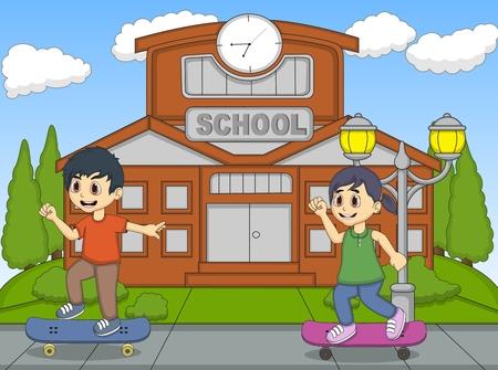 skate board: Little kids playing skate board in front of their school cartoon Illustration