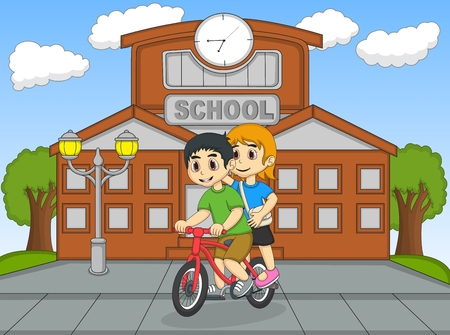 Little kids riding a bicycle in front of their school cartoon