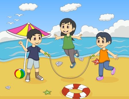 gente saltando: Los niños pequeños que juegan saltar la cuerda en la playa de la historieta