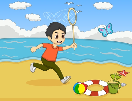 beach butterfly: Little boy catch butterfly on the beach cartoon