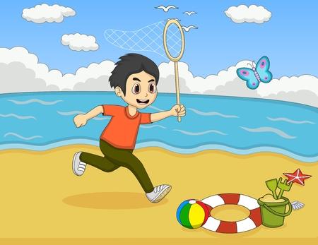 butterfly net: Little boy catch butterfly on the beach cartoon