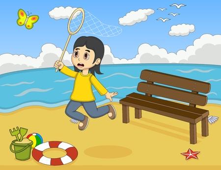 beach butterfly: Little girl catch a butterfly on the beach cartoon