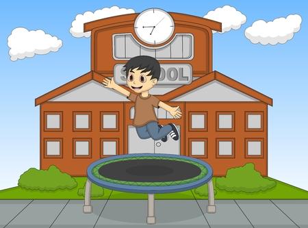 Kleiner Junge spielt Trampolin an der Schule Cartoon