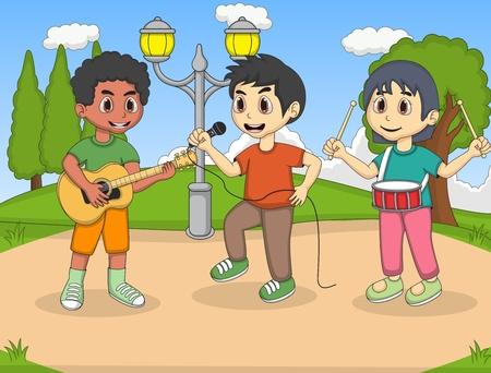 Children singing in the park cartoon 일러스트