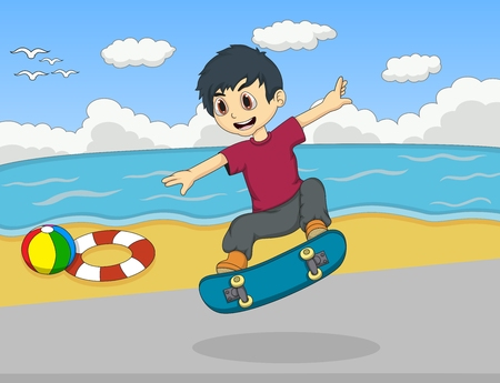 skate board: Little kids playing skate board on the beach cartoon Illustration