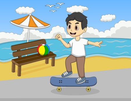 little skate: Little kids playing skate board on the beach cartoon Illustration