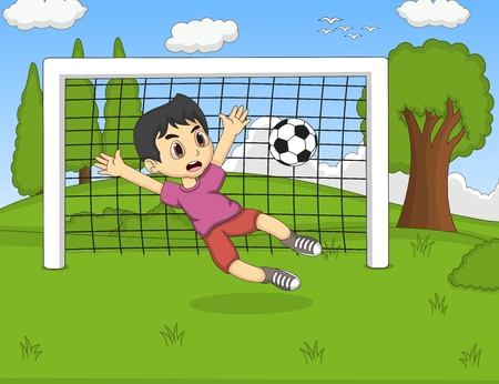 Kids playing soccer in the park cartoon
