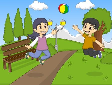 pelota de voleibol: Los ni�os que juegan voleibol en el parque de dibujos animados Vectores