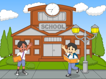 schooler: The boy reading a book and waving his hand cartoon