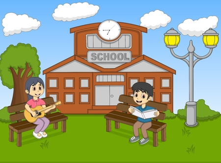 Children reading a book and playing guitar in front of their school cartoon 일러스트