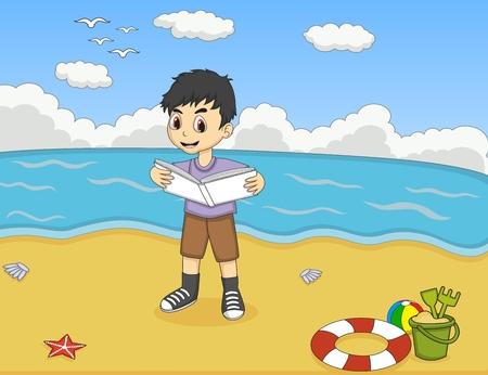 grade schooler: Children reading a book on the beach cartoon