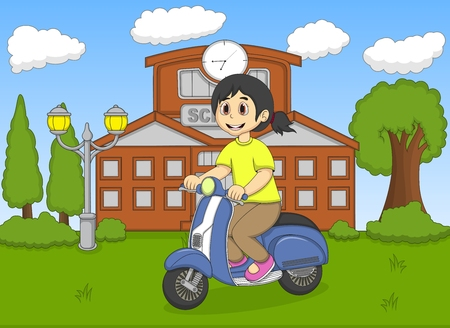 cartoon school girl: The girl riding a scooter in front of her school cartoon Illustration