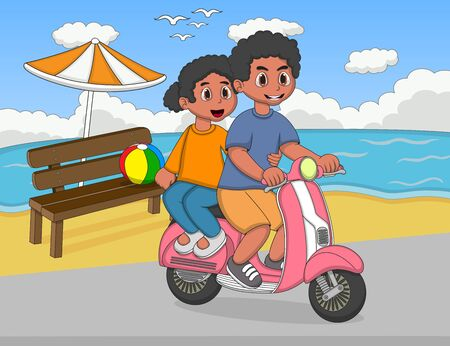 marriage night: A couple riding a scooter at the beach street cartoon Illustration