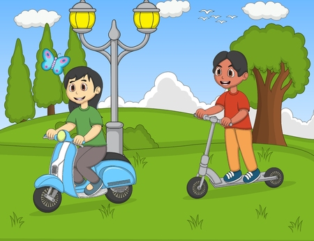 skateboard park: Children playing kick scooter in the park cartoon