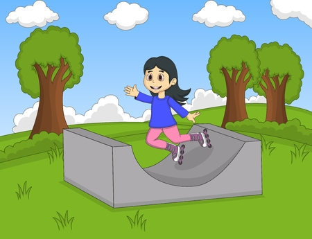 rollerblading: Children playing roller skate at the park cartoon