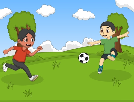 soccer background: Kids playing soccer in the park cartoon vector illustration