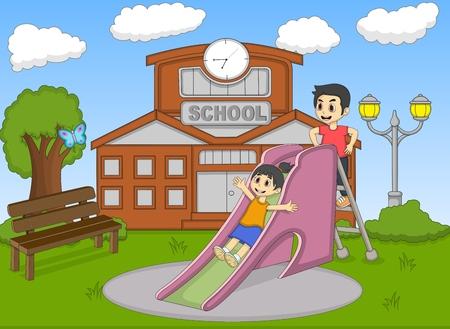 children illustration: Children playing slide on the school cartoon