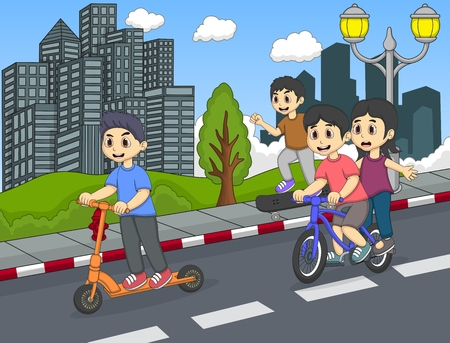skateboard park: Children riding a kick scooter, skateboard and bicycle on the street cartoon Illustration