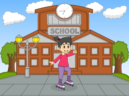 rollerblading: Children playing roller skate at the school cartoon