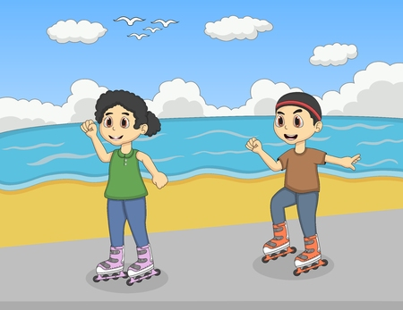 rollerblading: Children playing roller skate at the beach cartoon Illustration