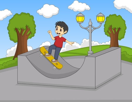 little skate: Little boy playing skate board in the park cartoon Illustration