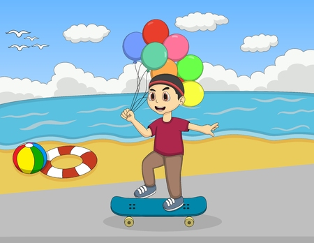 little skate: Little boy playing skate board on the beach cartoon Illustration