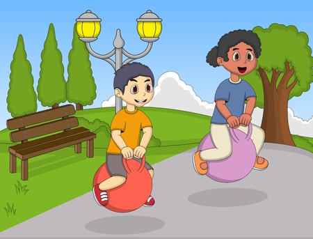 bouncing: Children playing bouncing ball in the park cartoon