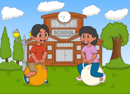 bouncing: Children playing bouncing ball in the school cartoon