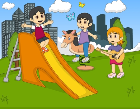 children play: Children playing guitar, rocking horse at the park vector Illustration