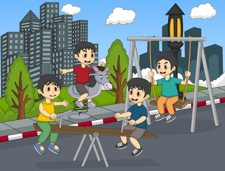 teeter: Children playing rocking horse, swinging and teeter at the street cartoon Illustration