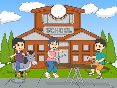 teeter: Children playing rocking horse and teeter at school cartoon