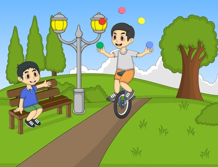 unicycle: Boys playing rocking horse and unicycle at the park cartoon