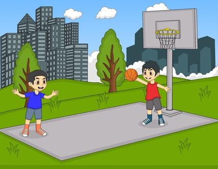 Boys playing basketball at the park cartoon