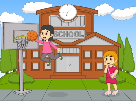 cartoon school girl: A girl playing basketball at the school while the other watching cartoon Illustration